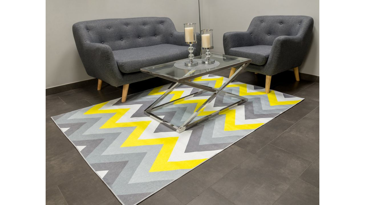 Koberec Vesardi GEOMETRIC Grey Yellow 200x140cm